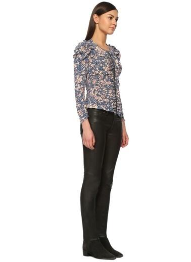 Fermuarlı Çiçekli Bluz-Etoile İsabel Marant
